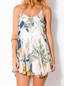 White Spaghetti Strap Leaves Print Dress