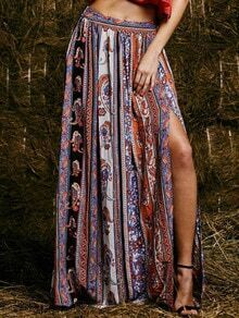 Multicolor Tribal Side Slit Maxi Skirt