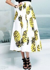 White High Waist Pineapple Print Skirt