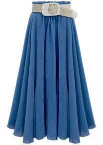 Blue Belt Pleated Long Skirt
