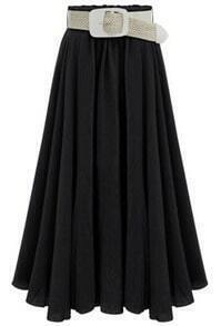 Black Belt Pleated Long Skirt