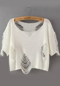 Hollow Crop White Sweater