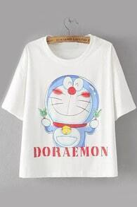 Doraemon Print White T-shirt