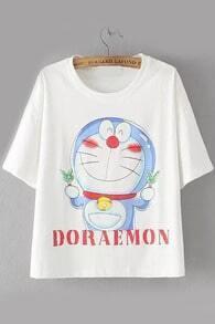 Doraemon Print White T-shirt