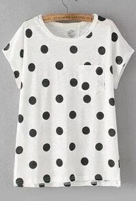 With Pocket Polka Dot Black T-shirt