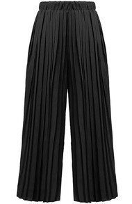 Elastic Waist Pleated Chiffon Black Pant