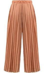 Elastic Waist Pleated Chiffon Orange Pant
