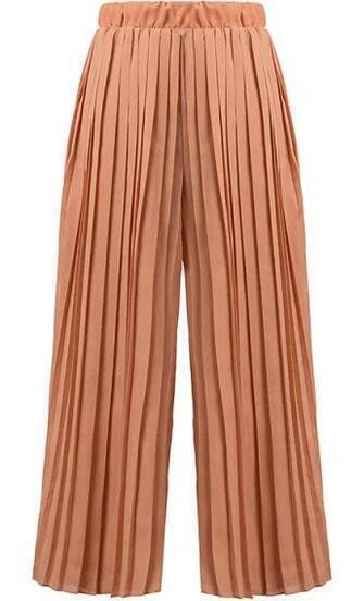 Elastic Waist Pleated Chiffon Orange Pant