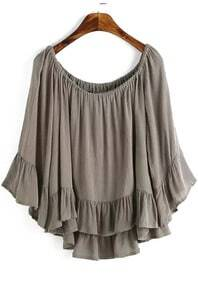Boat Neck Peplum Hem Coffee Top