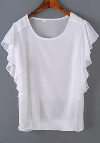 Ruffle Sleeve White Top