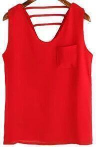 V Neck With Pocket Hollow Red Tank Top