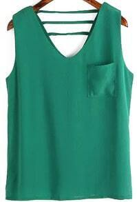 V Neck With Pocket Hollow Green Tank Top