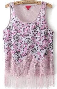 With Tassel Skull Print Tank Top