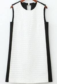 Color-block Back V Cut Tank Dress