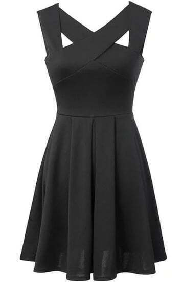 Criss Cross Open Back Flare Black Dress