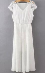 V Neck Lace Embroidered White Dress