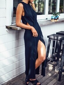 Navy Sleeveless Cut Out Split Maxi Dress