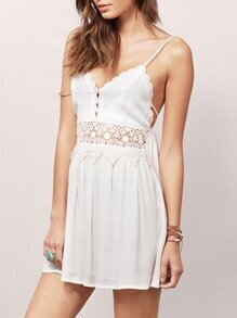 White Spaghetti Strap V Neck Backless With Lace Dress