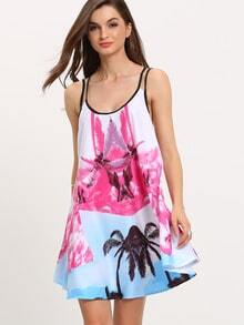 Multicolour Beachdresses Spaghetti Strap Backless Flowers Floral Print Pastel Dress