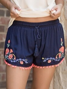 Navy Tie-Waist Vintage Embroidered Tassel Shorts