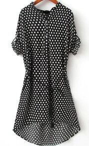 V Neck Dip Hem Polka Dot Blouse