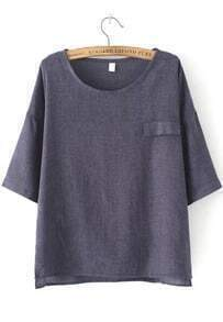 Dip Hem With Pocket Navy T-shirt