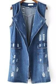 With Pockets Ripped Denim Vest