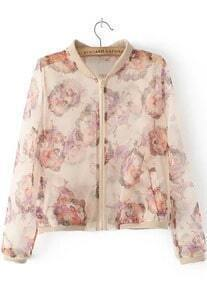 With Zipper Beauty Print Apricot Jacket