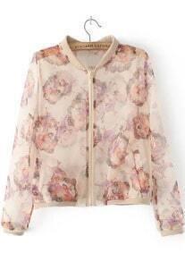 With Zipper Beauty Print Apricot Jacket