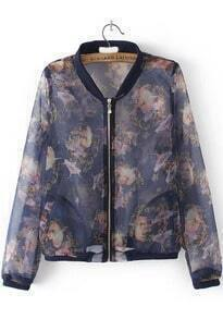 With Zipper Beauty Print Navy Jacket