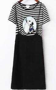 Striped Dog Print Top With Strap Skirt