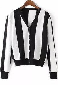 Vertical Striped Buttons Cardigan