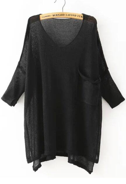 Dip Hem With Pocket Black Sweater
