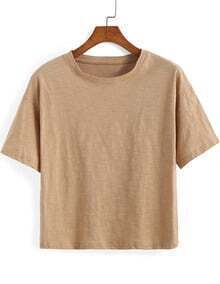 Khaki Round Neck Short Sleeve Crop T-Shirt
