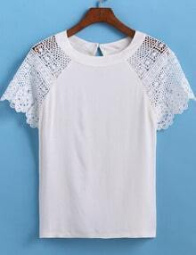White Lace Short Sleeve Crop T-Shirt