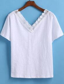 White V Neck Floral Crochet Loose T-Shirt