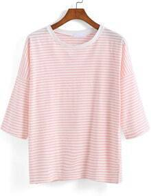 Pink Half Sleeve Striped Loose T-Shirt
