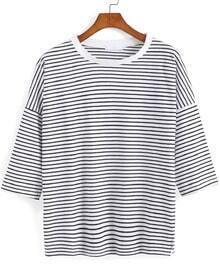 Black Half Sleeve Striped Loose T-Shirt