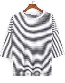 Black Half Sleeve Striped Loose T-Shirt