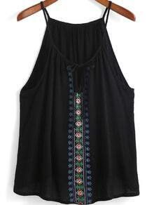 Black Spaghetti Strap Embroidered Cami Top