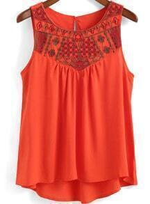 Orange Round Neck Embroidered Dip Hem Tank Top
