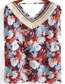 Navy V Neck Floral Tassel Tank Top