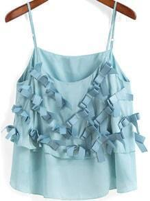 Turquoise Spaghetti Strap Bow Cami Top