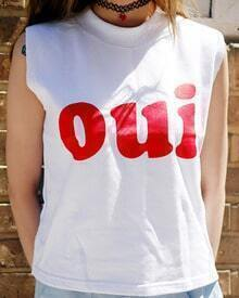 White Round Neck oui Print Tank Top