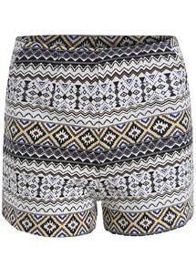 Black Geometric Print Straight Shorts