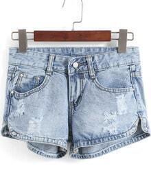 Blue Ripped Rivet Denim Shorts