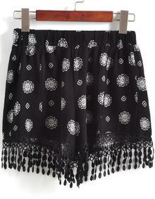 Black Elastic Waist Floral Tassel Shorts