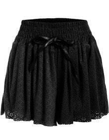 Black Elastic Waist Hollow Loose Shorts