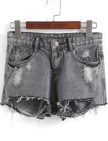 Grey Ripped Straight Denim Shorts