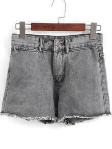 Grey Fringe Straight Denim Shorts